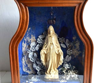 Large Antique French Niche For Virgin Mary For Religious Statue Wooden Reliquary Display Cabinet Shrine Architectural Salvage