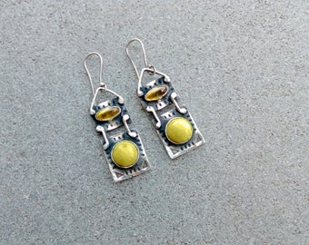 Sterling silver earrings with greenish olivine and yellow corundum gemstone, armenian, rustic, silversmith, green, rectangle, artisan, stamp