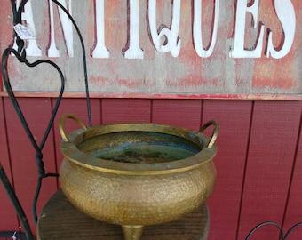 Antique Hammered Brass Planter