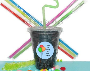 Balloon Party Cups, Balloon Cups, Kids Birthday Party Cups, 20 Cups, Kids Party Cups, Straws and Lids, 12 Ounce Cups