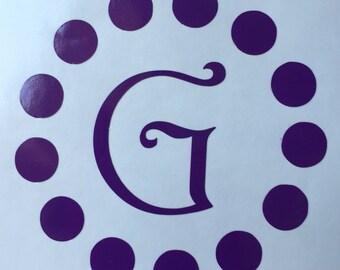 Circle Dots Monogram Vinyl Decal / Yeti Vinyl Sticker / Car Decal/ Initial Decals/ Polka Dot Decal