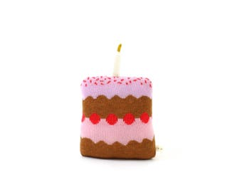 Birthday Cake - Lambswool cushion, pillow, plush, softie