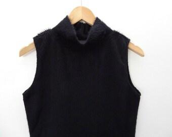 90s Black Fuzzy Faux Fur Tank Top