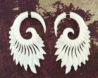 Fake Gauges, Fake Plugs, Handmade Bone Earrings, Tribal Style - Tribal Style Feather