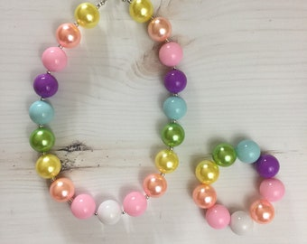 Pastel Chunky Necklace - Spring Chunky Necklace - Gift for Girl - Bunny Necklace Bubblegum Necklace Baby Girl Girl Toddler Spring Bracelet