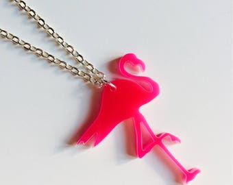 Flamingo | Pink | Tropical | NSO | Roller Derby | Laser Cut | Acrylic | Necklace