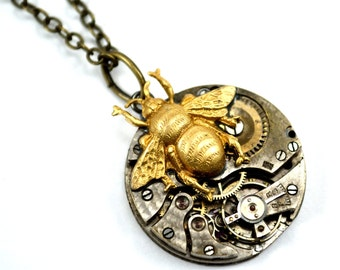 Watch Necklace, Bee Necklace, Steampunk Necklace
