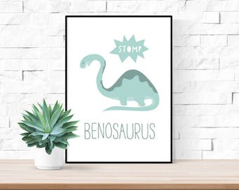 Dinosaur Personalised Name Print | Nursery Wall Art | Children's Play Room Decor Picture | 5 Colours Available