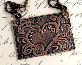 Etched Copper Necklace - Heart and Swirls Pendant - Hand Drawn Design
