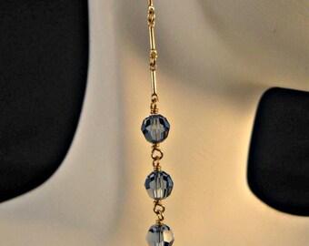 Long Swarovski Crystal Gold Earrings,crystal earrings,gold earrings,long earrings,dangle earrings,drop earrings,cascading earrings,crystal