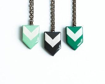 Chevron necklace geometric jewelry, green necklace, black necklace tribal