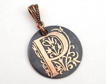 Letter P pendant, small round flat metal copper etched monogram initial, optional necklace, 25mm