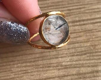 Rutilated Quartz Ring * Black Rutile Ring * Boho Ring * Black Rutile Jewelry * Gemstone Ring * Natural stone