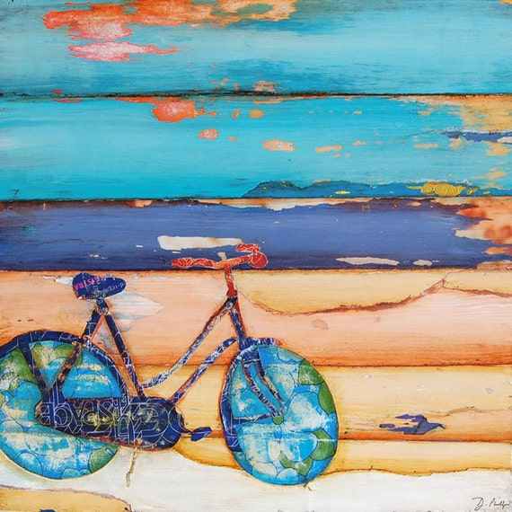 ART PRINT or CANVAS bicycle bike biking cycling beach positive poster wall home decor adventure painting wedding graduation gift, All Sizes