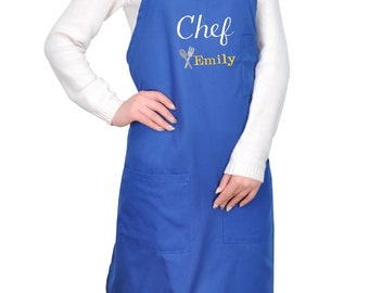 Personalized Blue Apron w/Pockets, Embroidered, Custom Apron, Housewarming Gift, Gift for family .