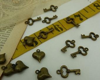 10 tiny keys in aged brass