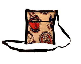 Kalamkari Cross Body mini  sling Bag