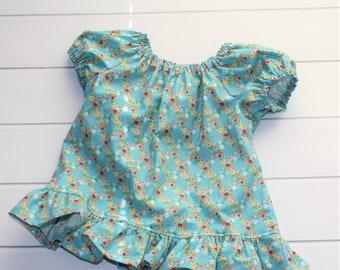 Girls Ruffle Blouse - Peplum Top - Girls Peasant Blouse - Girls Floral Shirt - Blue Ruffle Shirt - Girls Prairie Blouse - Summer Top