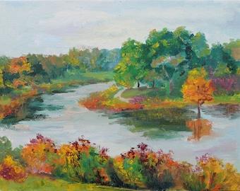 Fall in the Botanic Garden - Original Plein air Painting - Mother gift