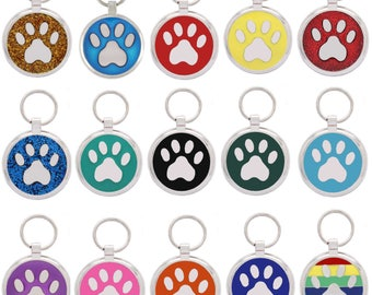 Pet Tag Dog Tags Personalised Engraved Pet Id Tags Dog Tag  Pawprint Design by Pawprint Pet Tags