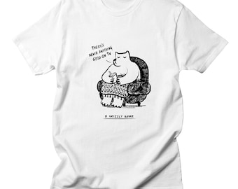 A Grizzly Bear - Mens - Black and White - funny T-shirt / Tee - iOTA iLLUSTRATiON