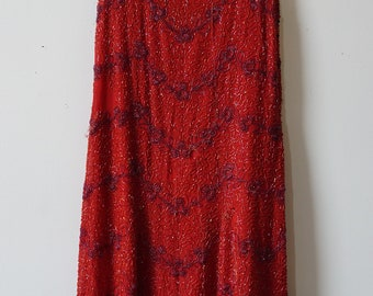 1920s Red Beaded Flapper Dress- AS Is