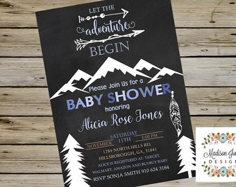 Tribal Boy BABY SHOWER Invitation, Customized Digital Printable, Baby Shower Invite, Tribal Boy Baby Shower, Let the Adventure Begin invite