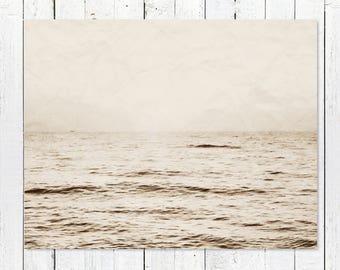 Rustic Home Decor Wall Art   Black + White Beach Photography   Ocean Photography   Coastal Art Print   Nautical Wall Decor   Horizon Sunrise