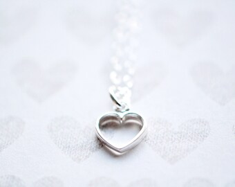Heart Necklace - Tiny Heart Pendant - Sterling Silver Heart Necklace - Mothers Day Gift - For Mom