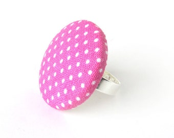 Large pink ring - polka dot ring - big fabric ring - pink button ring - adjustable ring - white bright pin up rockabilly ring - gift for her