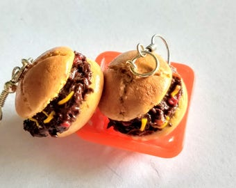 Sloppy Joes Earrings - Miniature Food Jewelry - Inedible Jewelry - Hamburger Jewelry - Kid's Jewelry, Junk Food Jewelry, Sloppy Joes, Foodie
