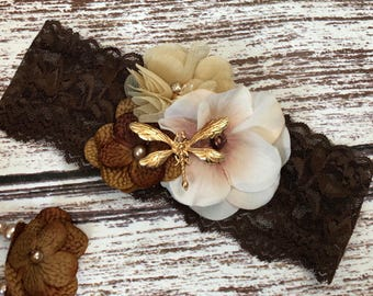 Brown Beige Fabric Flower Headband, Little Baby Girls Organic Natural Earth Tones, Newborn Baby Shower Gift, Garden Fairy Dragonfly, lace