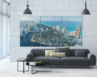 3 Panels Miami Skyline at Sunset Aerial View Leather Print/Miami Extra Large Print/Miami Landscape/Wall Art/Multi Panel/Better than Canvas!