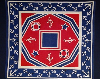 Large Vintage Novelty Bandana Cotton Nautical Americana