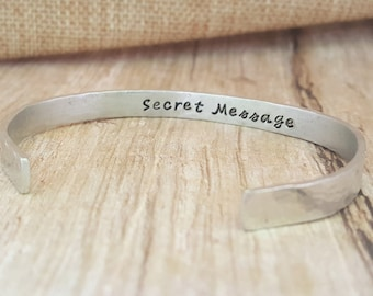 Bracelet Secret Message, Custom Made Bracelet, Personalized Bracelet, Hidden Message Jewelry, Hand Stamped Bracelet