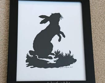 Rabbit  - Victorian - Easter -Bunny - Spring - Silhouette - Scherenschnitte - Old Fashioned - Hand Paper Cutting Art By Janet Lynch - Framed
