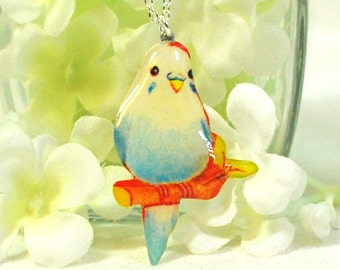 Blue Bird Necklace Pixie  - Bird Jewelry - Blue Parakeet Jewelry - Budgie Necklace - Parakeet Pendant - Canary Pendant - Gift for Bird Lover