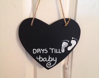 Heart Shaped Blackboard Countdown to Birth - Baby Shower