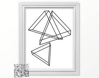 Triangle Print Digital Print Modern Print Digital Art Print Wall Decor Wall Art Instant Download Digital card print download : A0425