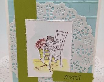 Thank You Card, Merci Cat & Flowers