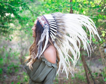 The Original - Real Feather White Chief Indian Headdress Replica 75cm, Native American Style Costume Hand Made War Bonnet Hat