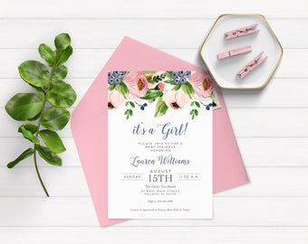 Floral Sprinkle Invitations - Baby Girl Sprinkle Invitations Floral - Baby Girl Sprinkle Invitations - Sprinkle Invitations for Girl