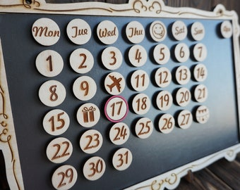 Perpetual Calendar Magnets; Perpetual Wooden Calendar; Set of Calendar Magnets; Custom Wooden Calendar; Months, Days of week, Symbols