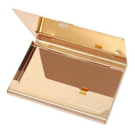 Personalized business card holder high polished rose gold personalized business card holder high polished rose gold business card holder custom engraved free gold credit card holder card case colourmoves Gallery