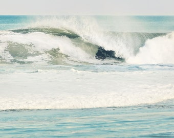 Beach Print, Ocean, Waves, Surf, Jersey Shore, Teal, Seaside, Seascape