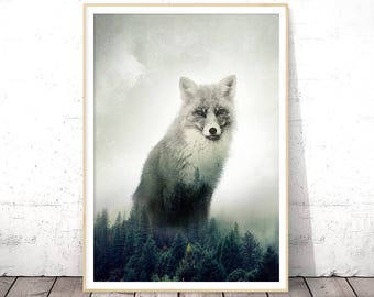 Fox Print, Green Decor, Forest Animals, Double Exposure, Nature Lover Gift, Woodland Nursery, Rustic Home Decor, Downloadable Prints