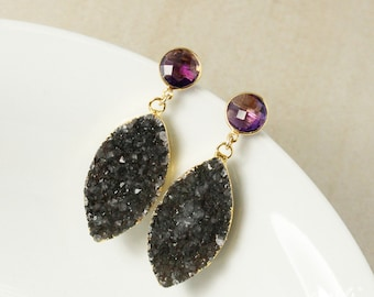 50% OFF SALE - Gold Purple Amethyst Quartz & Black Druzy Leaf Earrings - Post Setting - Geode Leaf Earrings