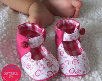 Anklet Mary Jane fabric Shoes PDF Sewing Pattern, 6 sizes, Kids Sewing Pattern / Modèle de couture Soulier Enfant