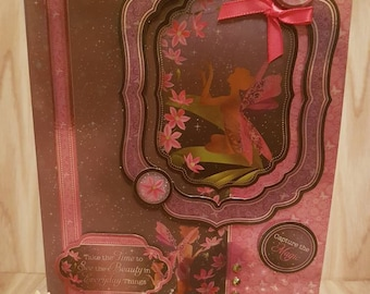 Handmade pink and black mirrored holographic fairy card. Create the magic. Birthday or any occasion