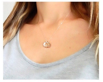 Personalized Circle Charm Gold Necklaces, Mothers Initial Necklace, Charm Necklace